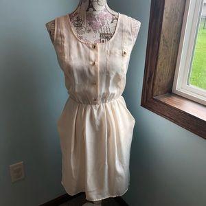 Bar III | Cream Tank Dress w/ Gold Buttons
